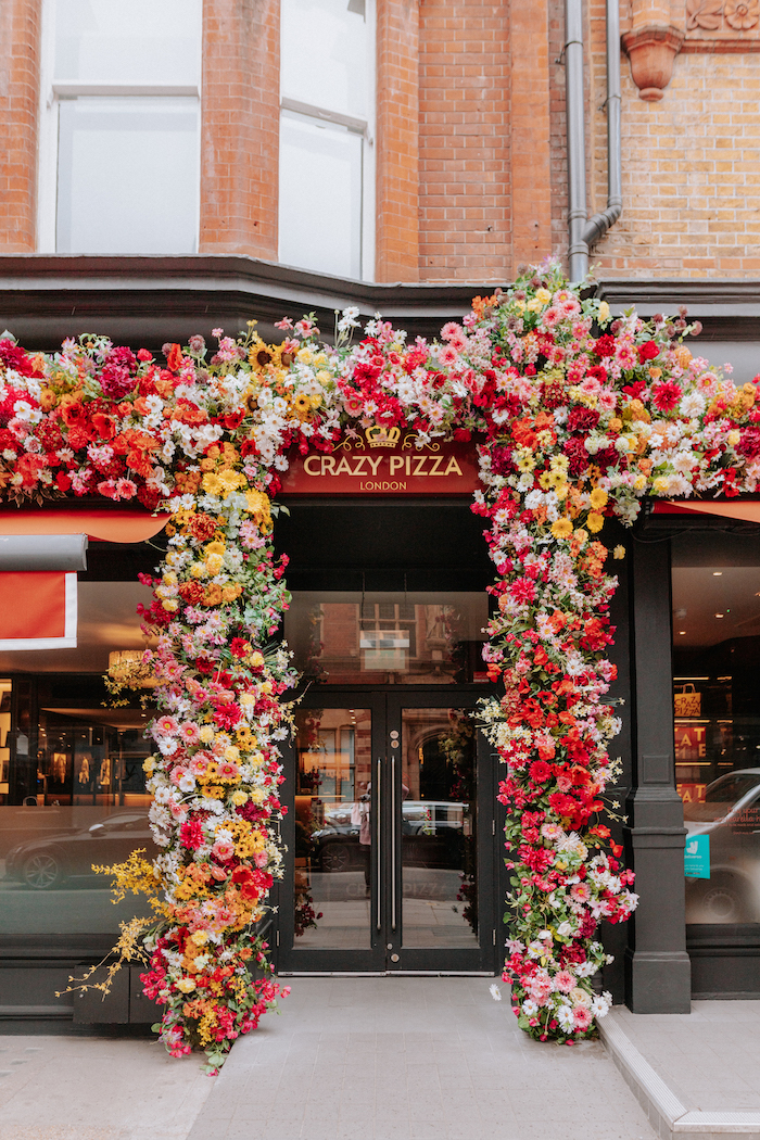 Entrance way with floral installation